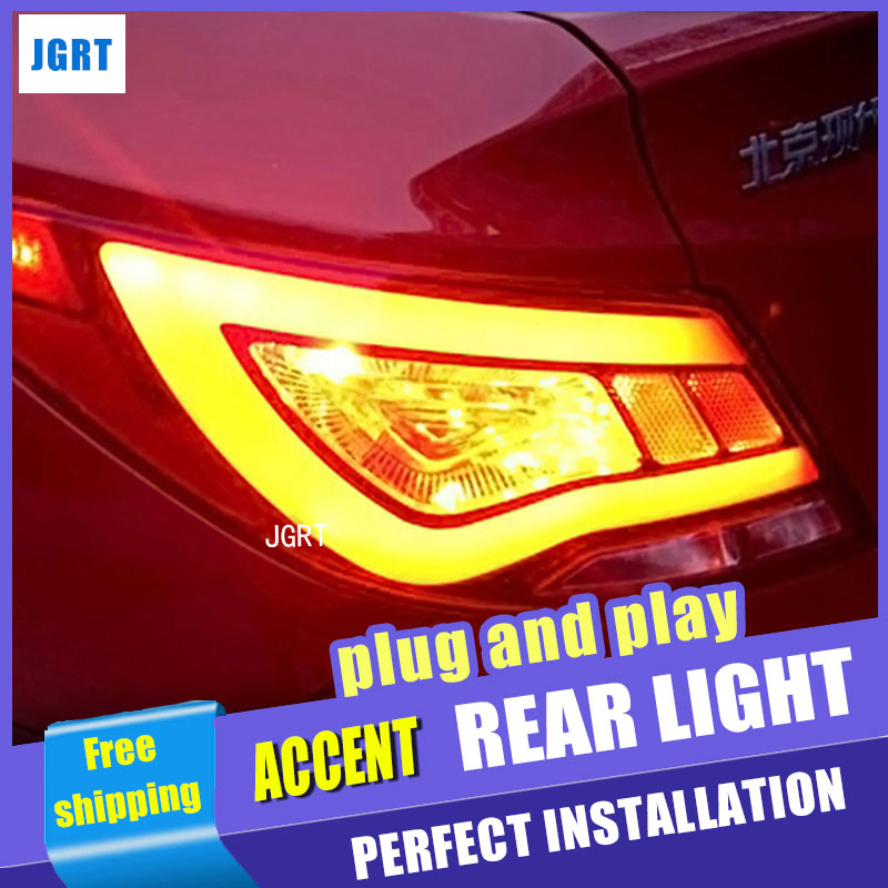 Car Styling LED Tail Lamp for Hyundai Accent Taillight assembly Solaris Verna Rear Light DRL+Turn Signal+Brake with hid kit 2pcs