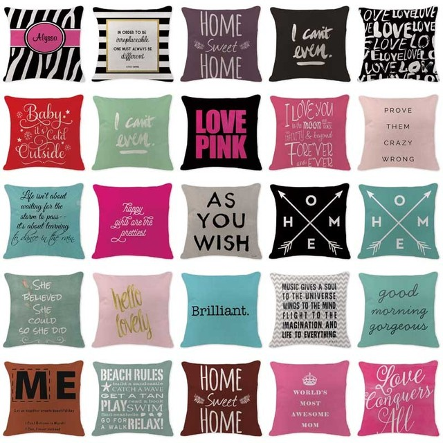 Hot Pillowcase Letter You Me Pink Throwpillows Farmhouse Large Cotton Linen Home Sofa Decorative White