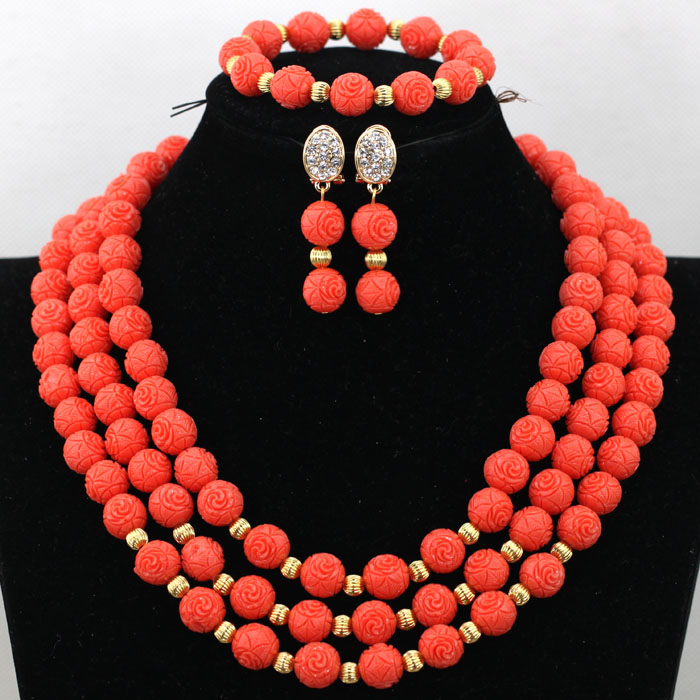 Charming 3 Layers Artificial Coral Party Beads Necklace Set African Lady Engagement Jewelry Set Free Ship QW598 allure charming party magic set