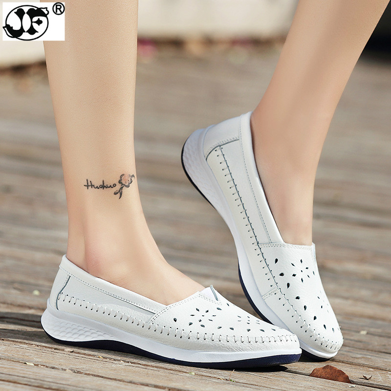 2018 Handmade Summer Hole Women Loafers Flat Leather Moccasin Shoes Woman Slip On White Ladies Shoes Casual Flats Moccasins 2017 summer new women fashion leather nurse teacher flats moccasins comfortable woman shoes cut outs leisure flat woman casual s