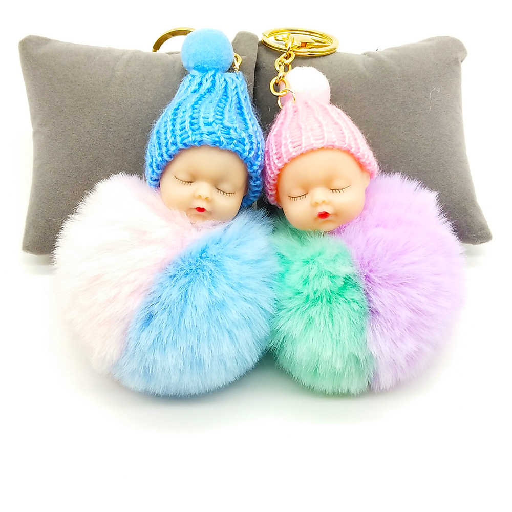 Multicolor Sleeping Baby Keychain Big Faux Leather 8CM Fur PomPom Doll KeyChain Bulb Bag Pom Pom Ball Key Chain Pendant Women