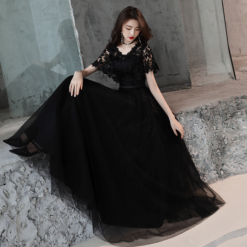 A-line Evening Dress Black V-neck Embroidery Lace Formal Prom Dress Zipper Back Short Sleeve Long Floor Length Party Gowns E334
