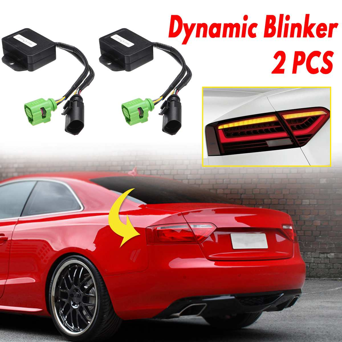 2Pcs Semi Dynamic Blinker Taillights Module Turn Signal LED Turn Signal Lights Cable Wire For Audi A5 8T 2007-2018