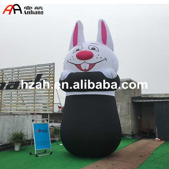 Cute Inflatable Rabbit with Hat for Advertising commercial sea inflatable blue water slide with pool and arch for kids