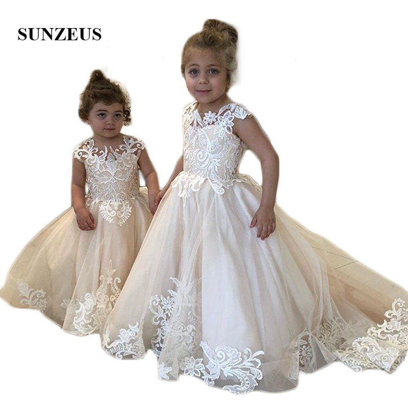 Little Princess Champagne Child Wedding Party   Dress   Ivory Lace   Flower     Girls     Dresses   Cute   Girls   Birthday Party Gowns SF59