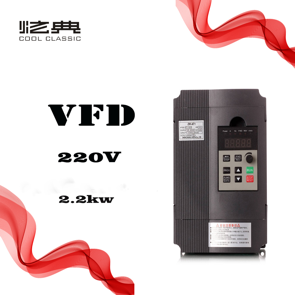 VFD 2 2KW 12A CoolClassic Mini frequency converter ZW AT1 3P 220V Output Free Shipping wcj7