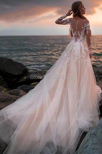 Image 2 - Сексуальное кружевное свадебное платье с аппликацией и длинным рукавом 2020 иллюзионное платье с высоким воротом и открытой спиной свадебное платье со шлейфом официальное платье