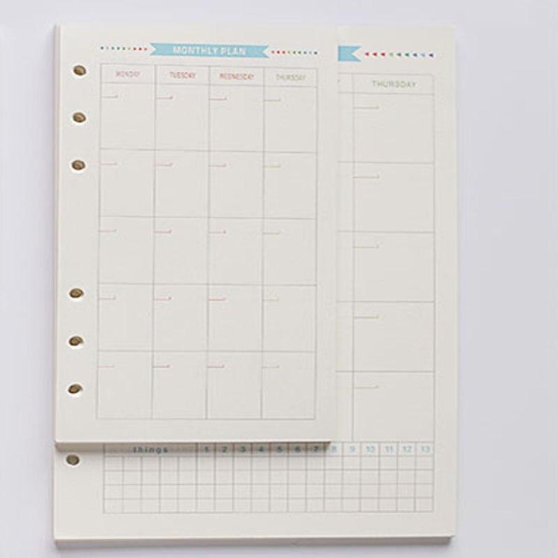 New original creative 6 holes spiral notebooks inner paper