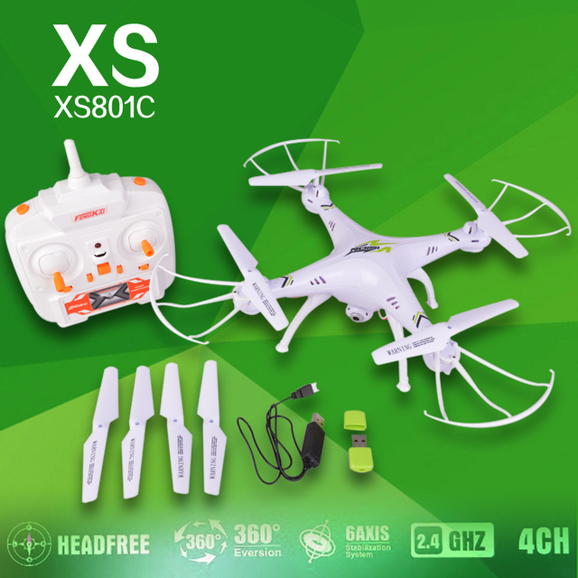 2.4G 6 Axis Gyro Headless Mode RC Quadcopter RTF RC Helicopter with 2.0MP HD Camera XS801 RC drone vs x5sc free shipping