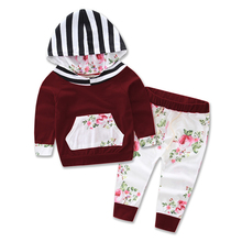2017 Hot baby Autumn new baby boy clothes Children Baby Girls Long Sleeve Hooded Tops Floral pants 2 pcs clothing set 16514