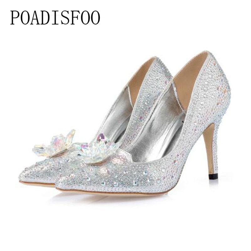 POADISFOO Women's natural Crystal Pumps Flats Party High quality Heels Shoes Elegant Women Transparent shoes Pumps YCB-1111-9