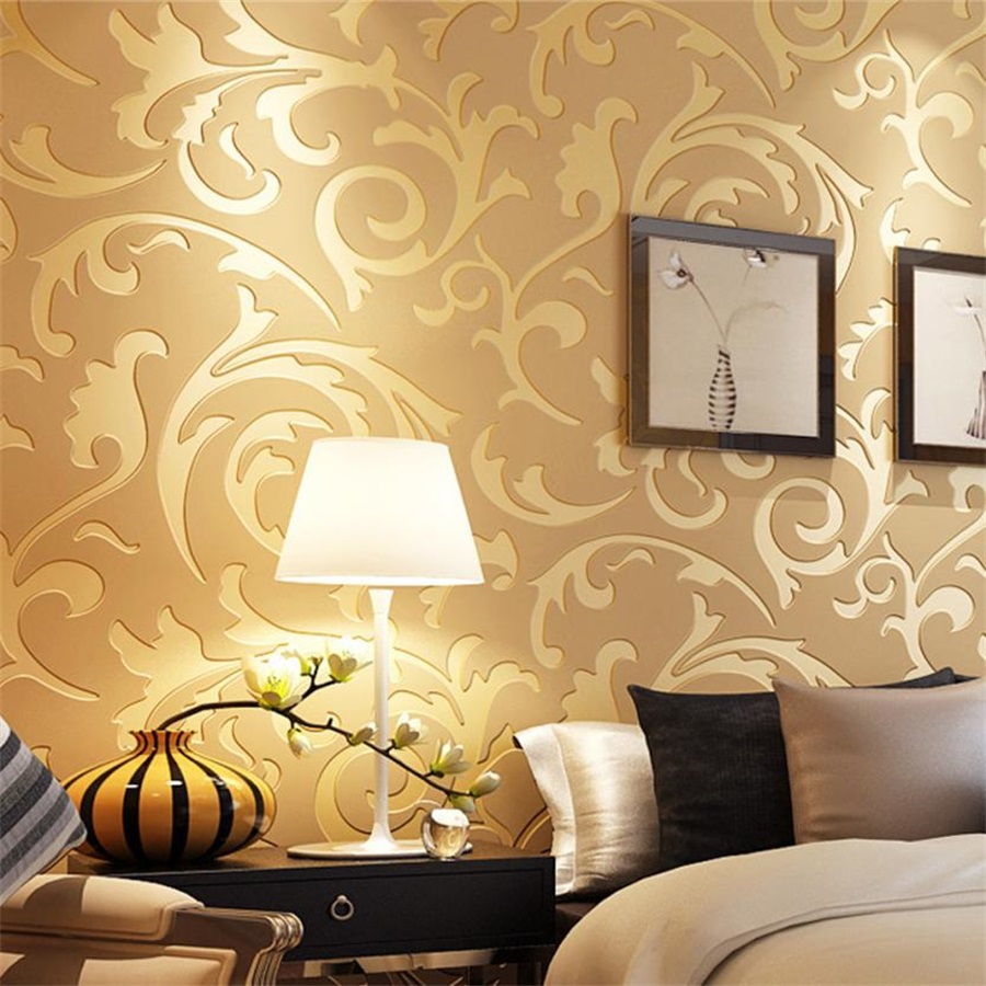 Hot Sale 1x 10M Luxury Silver 3D Victorian Damask Embossed Wallpaper ...