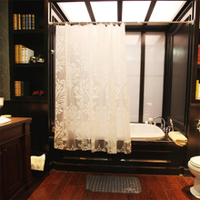 Elegant Floral Prints PEVA Shower Curtain White Simple High Quality Bathroom Curtains Waterproof Thickening Partition Curtain