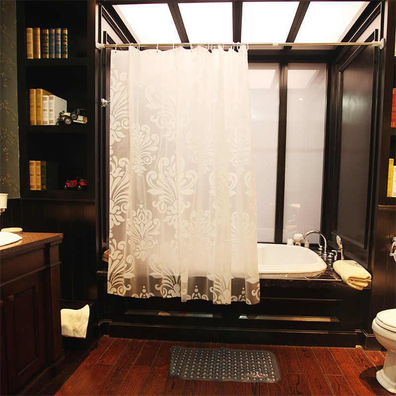 ستارة حمام أنيقة منقوشة بالزهور PEVA بيضاء بسيطة عالية الجودة ستائر حمام مقاومة للماء سميكة التقسيم
