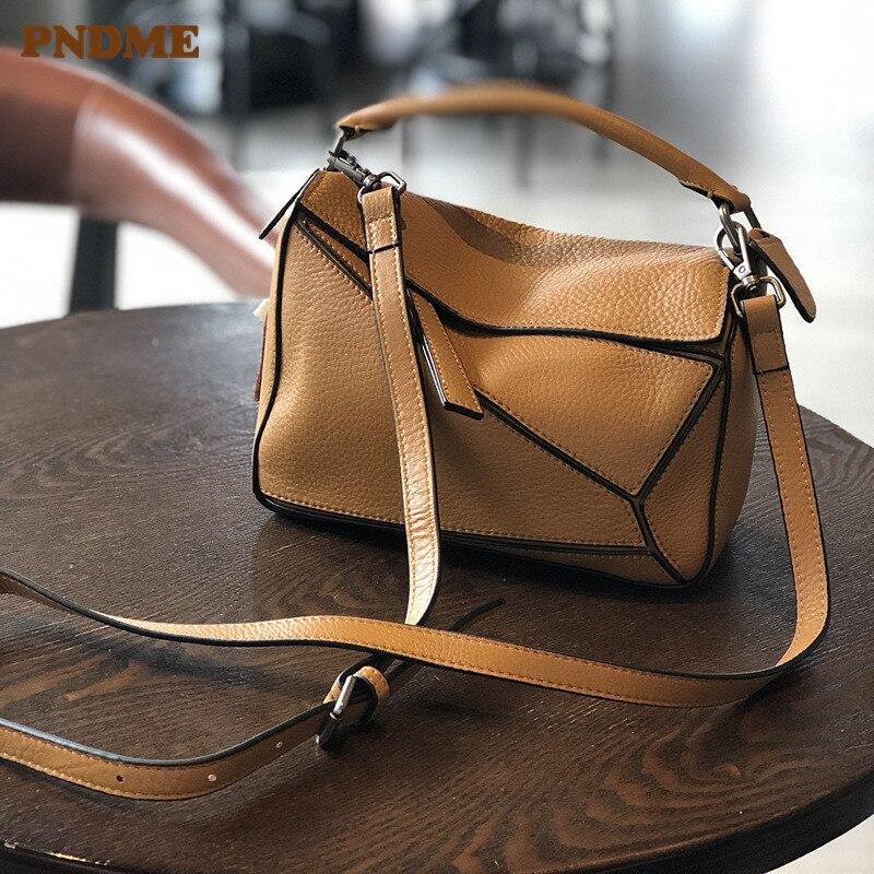 PNDME Vintage Fashion Designer Handmade Light Soft Genuine Leather Cowhide Ladies Shoulder Messenger Bags Handbag For Women