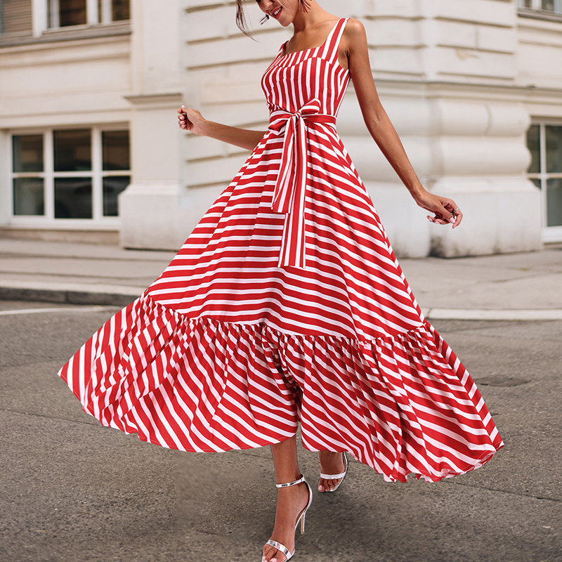Plus size bohemian maxi dress women square collar sashes pleated dress summer 2019 ruffles long beach dresses 3XL Robe femme image