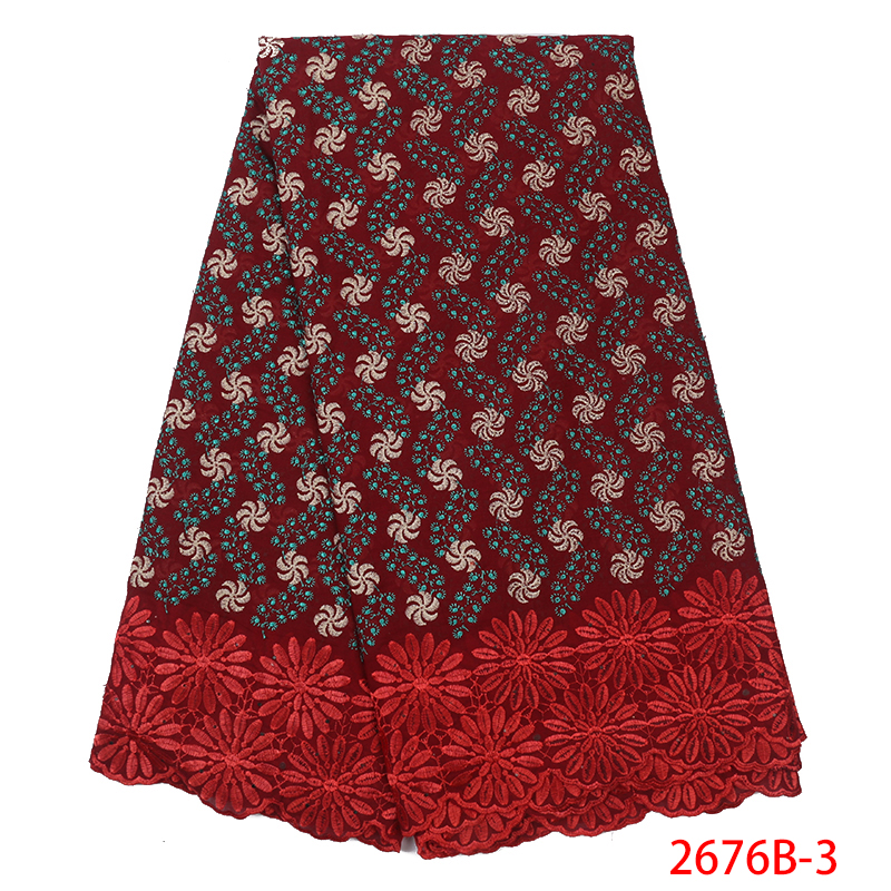 Nigerian Lace Fabric 2019 Swiss Voile Lace In Switzerland Fabric High Quality African French Fabrics Laces  KS2676B-3