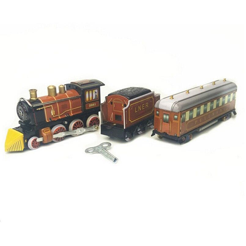 BEIOUFENG Vintage étain jouets Train classique horloge jouets pour adultes, rétro liquidation étain jouet avec horloge artisanat fait main cadeaux