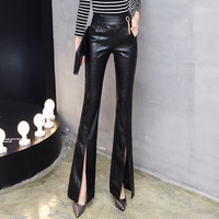 Autumn Winter New High Elastic Waist PU Leather Flare Pants Women Fashion Spilit Casual Plus Size