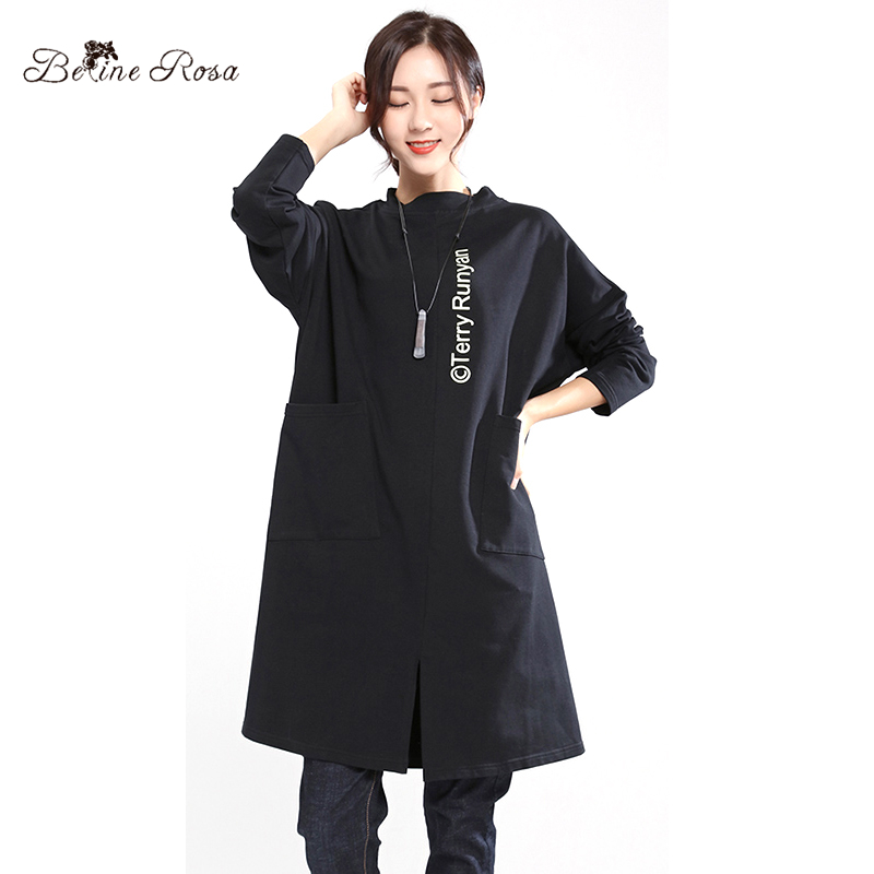 BelineRosa 2017 Women s Casual Dresses Cute Printing in Back Pure Cotton Autumn Winter Comfort Stand