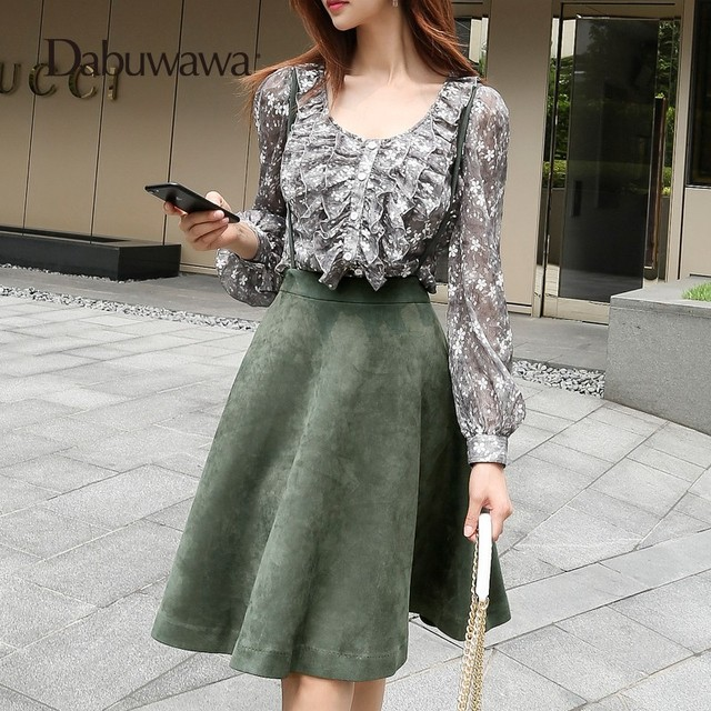a52856a85aa7 Dabuwawa Fashion Knee Length Women Fall Skirts Winter A Line Skirt Faldas  Mujer Suspender Casual High Waist Skirt #D17CRS018