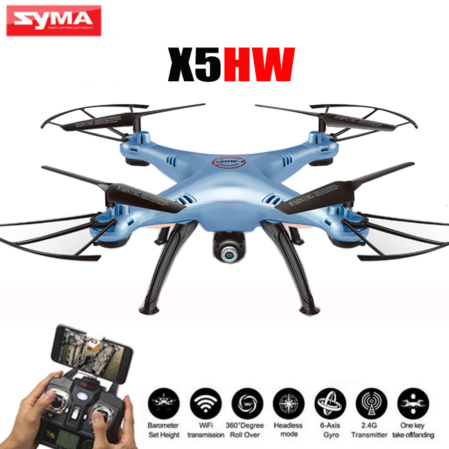 The cheapest Syma X5HW Drone 2.4G 4CH 6-Axis Quadcopter With Real-time 2MP WiFi Camera RC Helicopter Toys High one key return rc drone quadcopter x6sw with hd camera 6 axis wifi real time helicopter quad copter toys flying dron vs syma x5sw x705