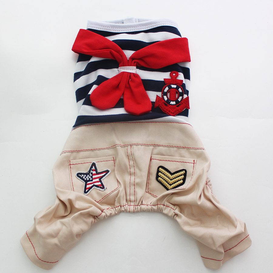 Boy Dog Pet JumpSuit pantalones Cat Puppy Striped & Sailor Shirt Abrigo camiseta Primavera / Otoño Ropa 5 tamaños