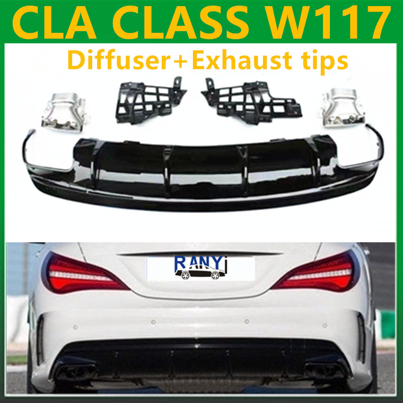 Cla45 Style Diffusers With 4 Outlet Exhaust Tips Rear Replacement Amg Styling Parts For Mercedes: Cla Amg Exhaust At Woreks.co