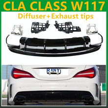 CLA45 Style Diffusers with 4 outlet Exhaust tips Rear Replacement AMG styling parts for Mercedes w117 C117 X117