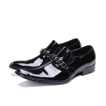 Chains Black Patent Leather Man Dress Italy Fashion Oxfords Shoes Genuine Leather Design Male High Quality Spring Man Oxfords