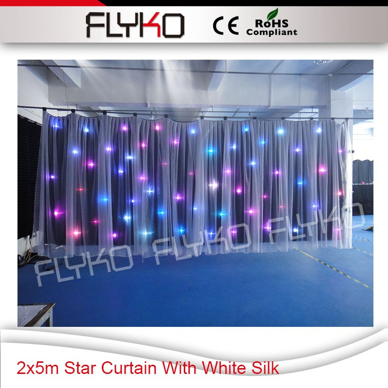 New arrived design 2x5m black star curtain with white valance RGB 3in1 high brightness 60pcs leds star screen