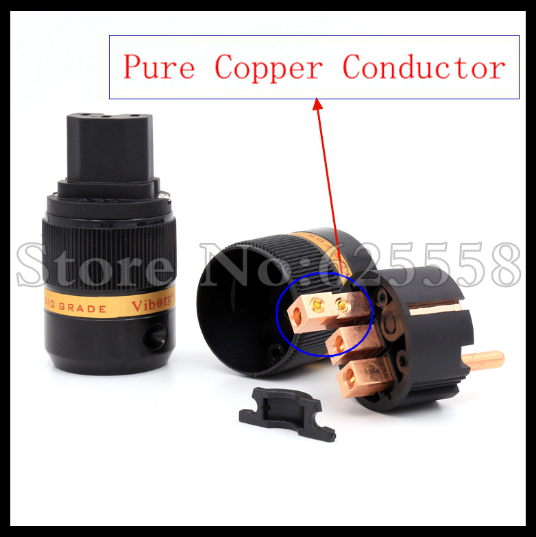 все цены на  1pair X Viborg Audio Puer copper  Plated  EU Schuko Power Plug IEC Connector  for Hifi DIY  Power Cable   extension adapter  онлайн