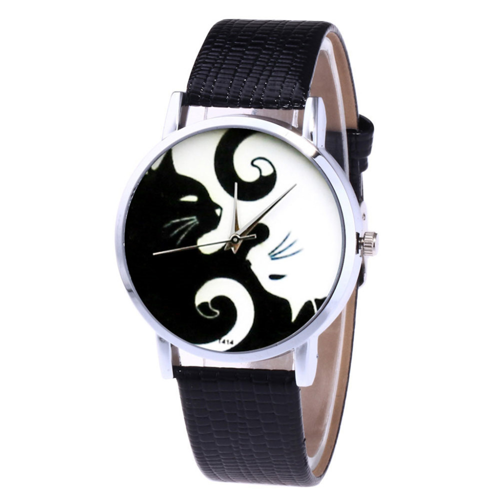 ZHOULIANFA Brand New Quartz Watch Women Leather Strap Korean Lady Student Watch Cat Print Quartz Wrist Watch Gift Clock Reloj #A