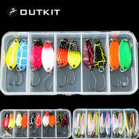 OUTKIT New Mixed 10pcs Assorted Fishing Lure Set Metal Fishing Baits Bass Spoon Spinner Bait with Sharp Fishing Tackles Box