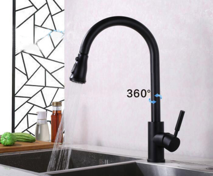 Free shipping Solid Brass Black Finish Kitchen Faucet Pull Out Mixer Tap Water Deck Mounted KF774 1 piece free shipping anodizing aluminium amplifiers black wall mounted distribution case 80x234x250mm
