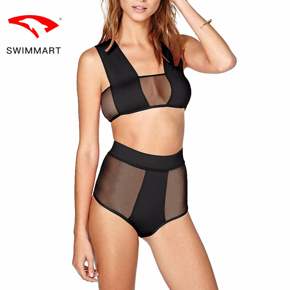 SWIMMART bikin high waist mesh stitching open swimwear women swimsuit bikini bathing suit swim