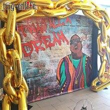 Ballons géants en chaîne pour cérémonie, 5 pièces, 80s 90s, pour anniversaire, style Hip Hop, fournitures pour arche de mariage, lien danse rétro, en or