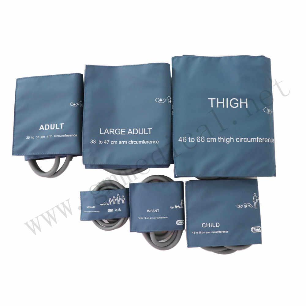 Mindray,CSI, Philips (신생아/유아/어린이/성인/허벅지) 과 호환되는 이중 튜브 블루 나일론 NIBP 커프가있는 혈압 커프