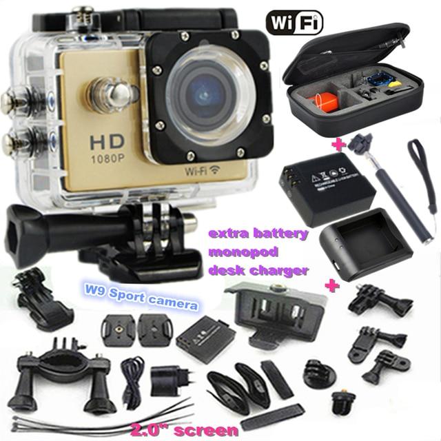 2.0 polegada de Tela hdmi Wifi W9 Sports video Camera 1080 p Full HD Mini Câmera À Prova D' Água 30 m câmera Ir pro Estilo do esporte câmera