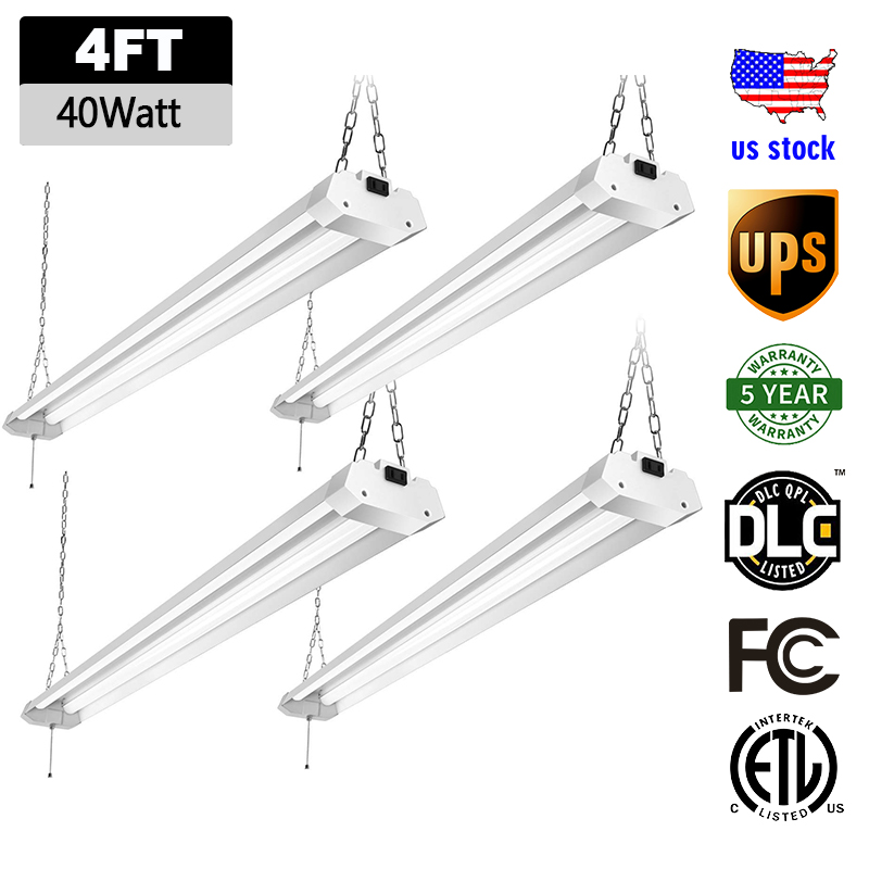40W Garage Lighting Fixtures LED Shop Lights For Garage 4 Foot 5000 Lumens Workshop LED Light Bar Warehouse Lighting With Plug