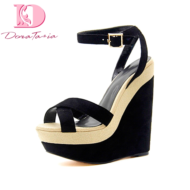 DoraTasia new women wedges high heels ankle strap platform shoes woman party comfortable summer sandals black big size 34-43 sgesvier european style ankle strap women summer shoes wedges high heels sandals platform causel shoes plus size 34 43 vv431
