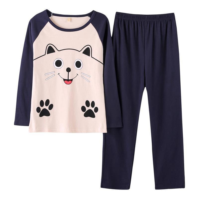 Women   Pajamas     Set   2018 Autumn Ladies Cute Sleepwear Woman's long Sleeve Household Clothing   Set