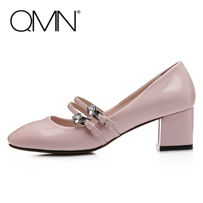 QMN women double buckled crystal embellished patent leather pumps Women Block Heels Mary Janes Shoes Woman Leather Pumps 34-43