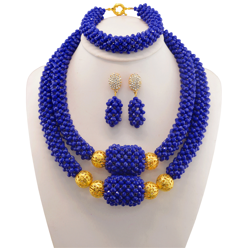 Dubai Blue Bridesmaid Necklace Set Nigerian Costume Wedding Statement Jewelry Choker African Beads Jewelry Sets For Women hot red statement choker necklace african wedding beads for women set dubai costume bridal lace jewelry set free shipping abf550