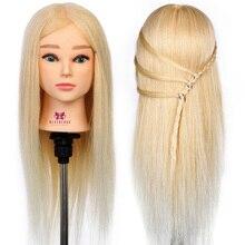 20 »50 см Парикмахерских Кукла-Манекен Обучение Начальник Косметология Головка Манекена 100% Настоящие Волосы Голубой глаз