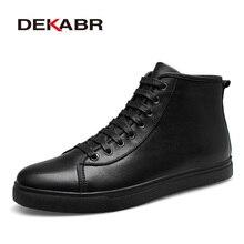 Dekabr/бренд Мужские ботинки 2018 Модные мужские полусапоги зима-осень Повседневное Для мужчин ботинки из натуральной кожи мужская обувь большие Размеры 37-48