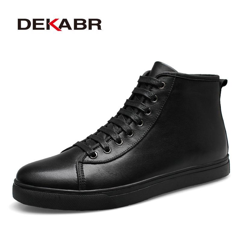 DEKABR de los hombres de la marca de 2018 de los hombres de la moda botas de invierno otoño casuales de los hombres botas de cuero genuino zapatos de hombre grande Plus tamaño 37-48