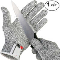 2PCS Anti-cut Gloves Hunting Cut Proof Stab Resistant Stainless Steel Wire Metal Mesh Butcher Cut-Resistant Gloves
