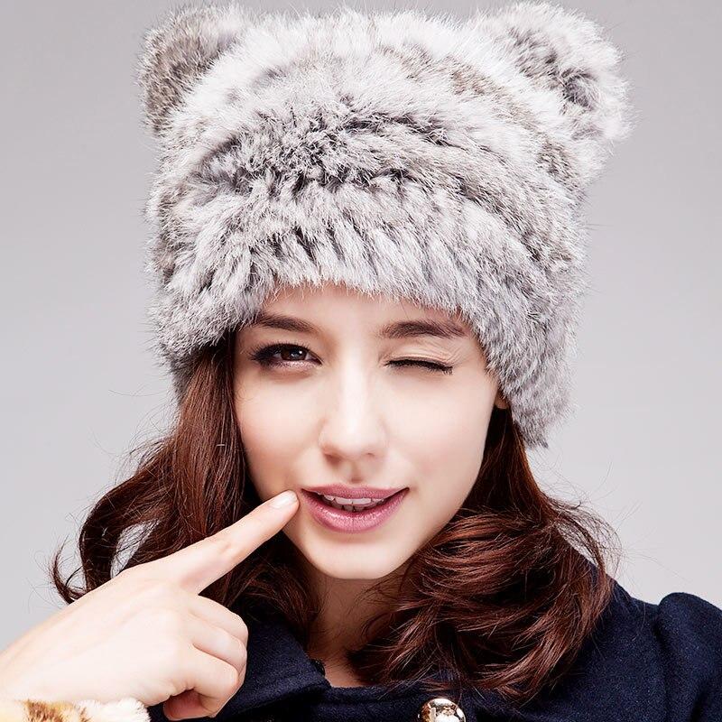 ФОТО Women rabbit fur hat Fall and winter tide cute lady hat Warm windproof cat ears cap