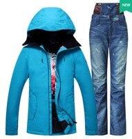 Женский синий лыжный костюм женский синий альпинизм походная Лыжная куртка с светло синими джинсовыми лыжными штанами Лыжный костюм Катан